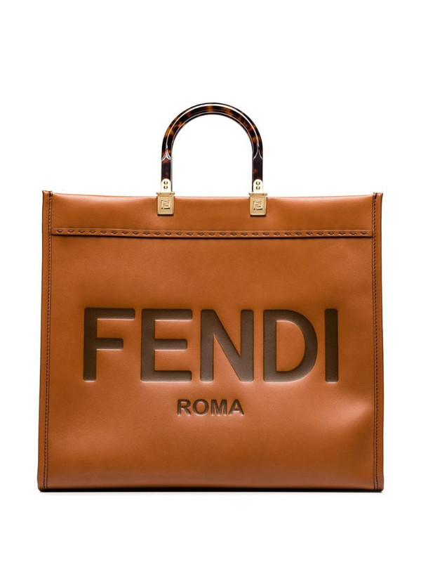 Fendi Sunshine logo-embossed leather tote bag in brown