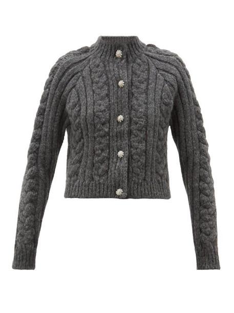 Ganni - Crystal Buttoned Cabled Alpaca Blend Cardigan - Womens - Grey