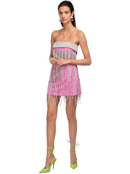 THE ATTICO Embellished Fringe Wool Mini Dress in pink