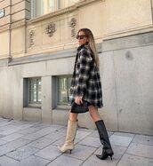 bag,coat,tartan coat,pouch,boots