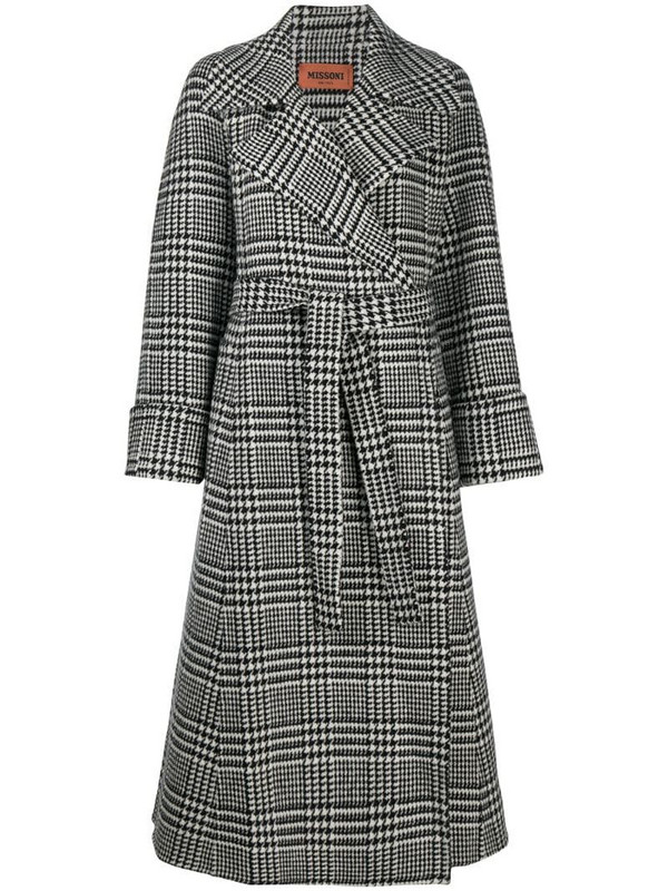 Missoni houndstooth check belted coat in black