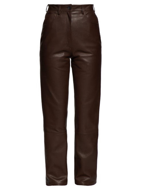 The Row - Charlee High Rise Leather Trousers - Womens - Brown