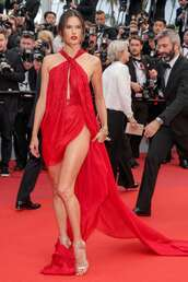 shoes,red dress,red,red carpet dress,alessandra ambrosio,asymmetrical dress,gown,cannes,sandal heels,gold sandals