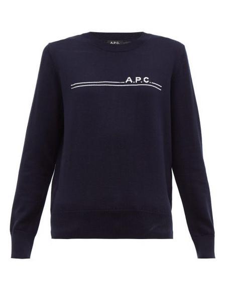 A.P.C. A.p.c. - Logo Jacquard Cotton Blend Sweater - Womens - Navy