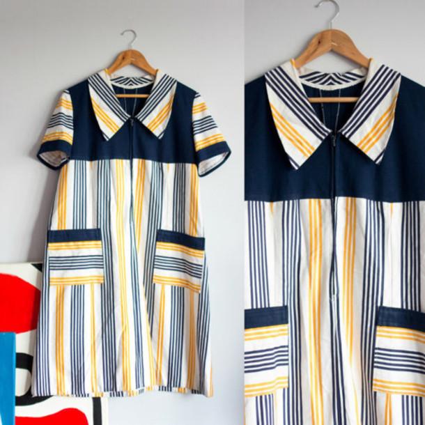dress stripes yellow blue summer casual