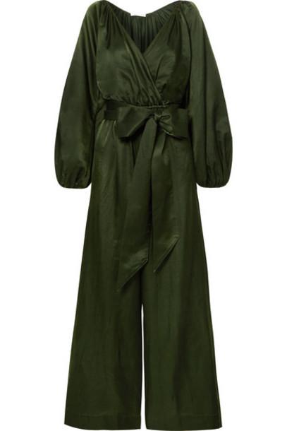 Kalita - Venus Cotton And Silk-blend Habotai Jumpsuit - Emerald
