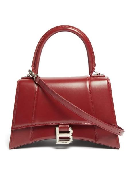 Balenciaga - Hourglass Leather Top-handle Bag - Womens - Burgundy