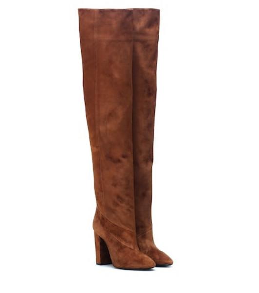 Saint Laurent Lou 100 suede boots in brown