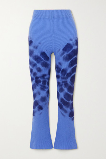 The Elder Statesman - Tie-dyed Ribbed Cashmere Flared Pants - Blue