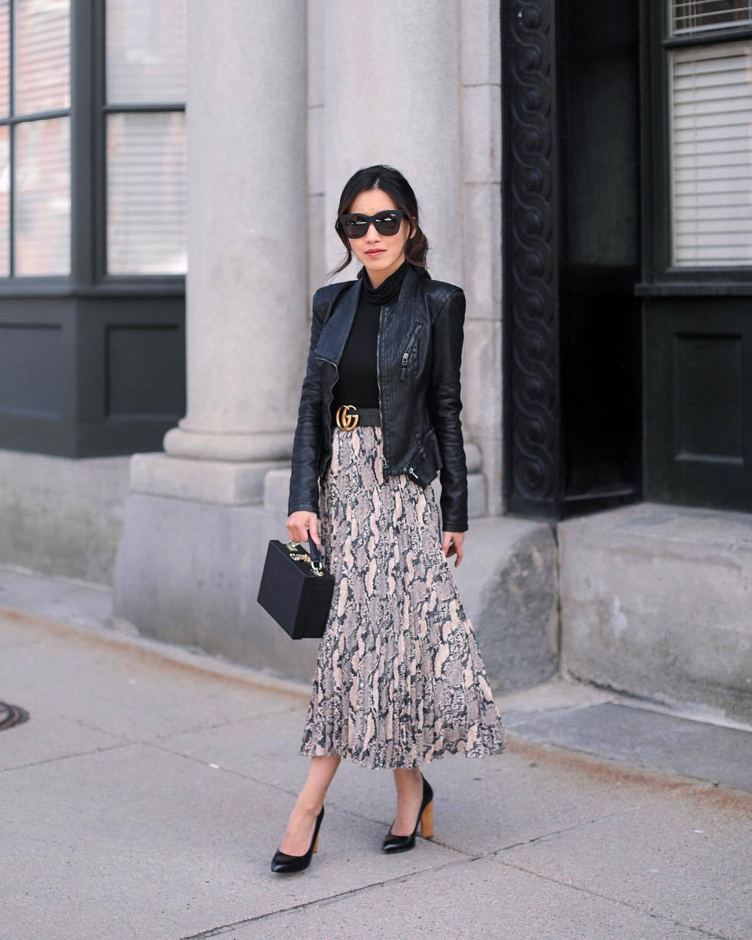skirt midi skirt snake print pleated skirt pumps black bag boxed bag black leather jacket gucci bag black belt black turtleneck top