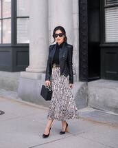 skirt,midi skirt,snake print,pleated skirt,pumps,black bag,boxed bag,black leather jacket,gucci bag,black belt,black turtleneck top
