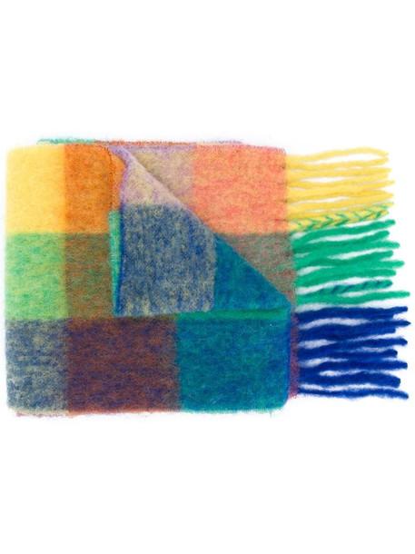 Acne Studios multi check scarf in blue