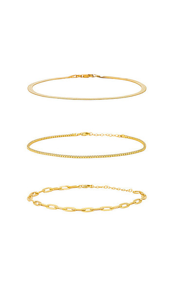 The M Jewelers NY Anklet Set in Metallic Gold