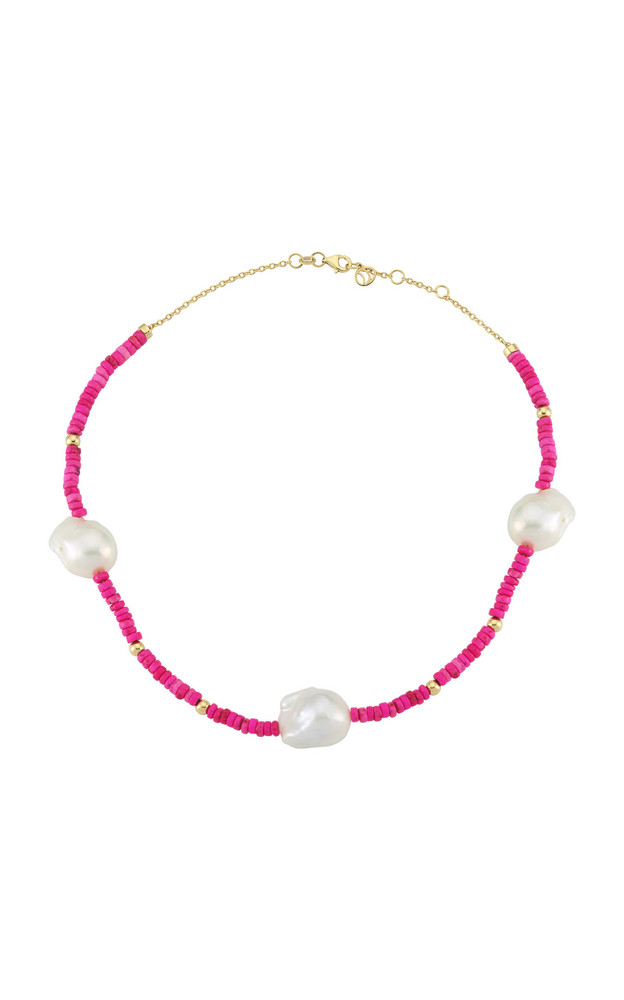 Charms Company Les Bonbons Pearl 14K Yellow Gold Beaded Necklace in pink