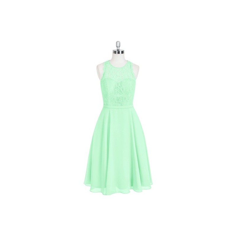 Mint_green Azazie Sylvia - Scoop Knee Length Chiffon And Lace Back Zip Dress - Charming Bridesmaids Store