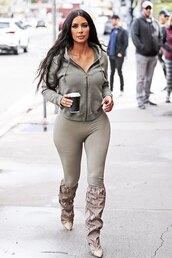 jacket,kim kardashian,kardashians,celebrity,streetstyle,leggings,boots,hoodie,athleisure,casual