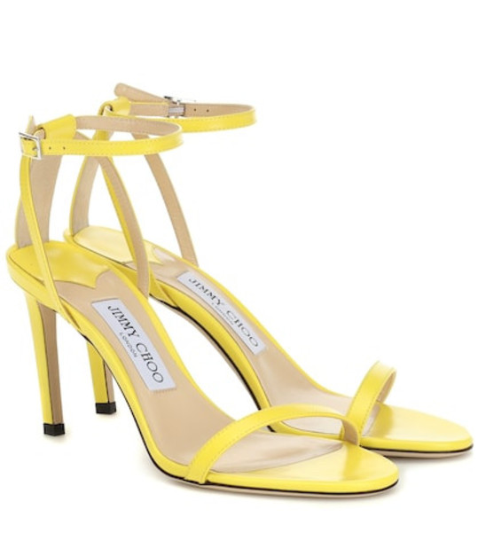 Jimmy Choo Minny 85 leather sandals in yellow