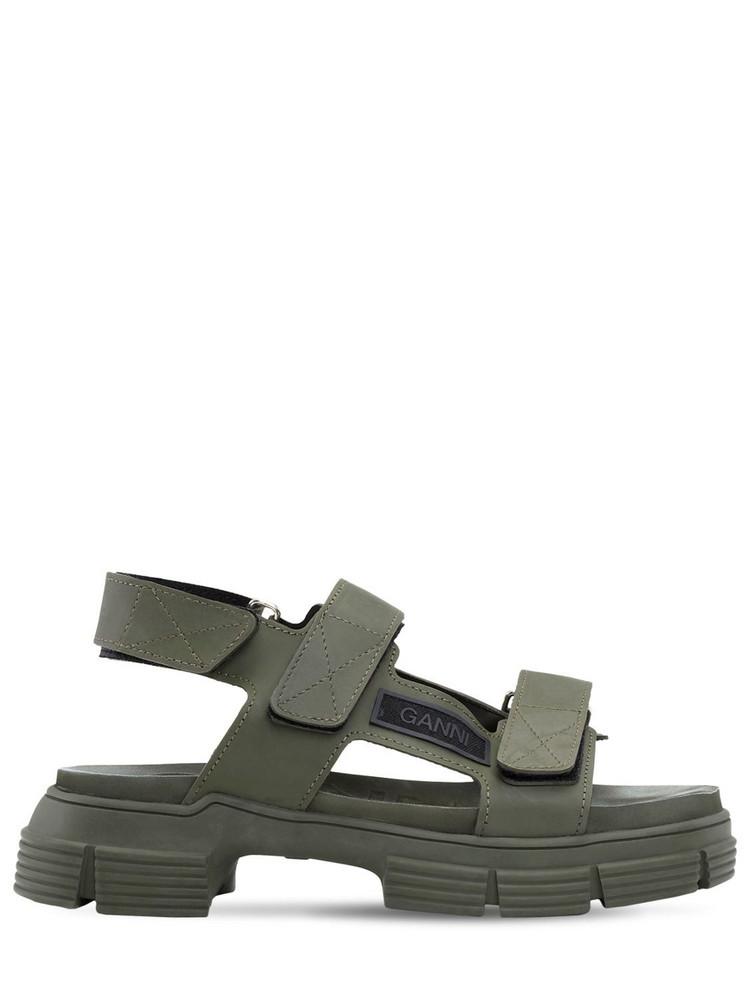 GANNI 45mm Rubber Trek Sandals in green