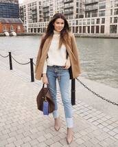 sweater,turtleneck sweater,white sweater,heel boots,jeans,brown bag,blazer
