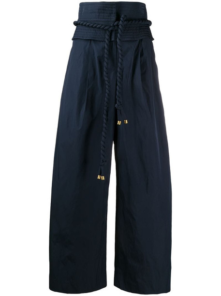 Tory Burch high waisted palazzo trousers in blue