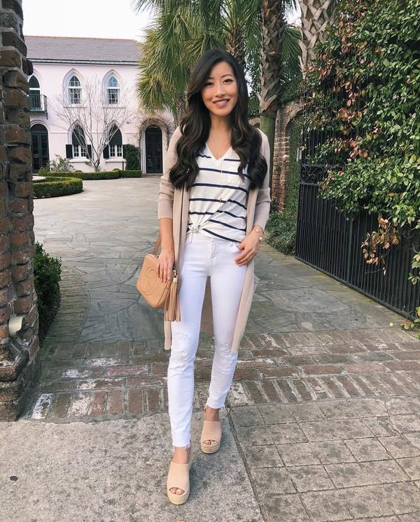 jeans white jeans skinny jeans cropped jeans platform shoes cardigan striped t-shirt v neck gucci bag