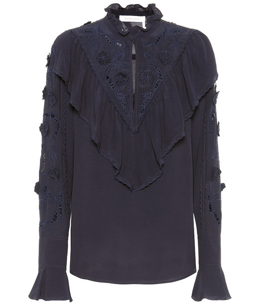 See By Chloé Broderie anglaise blouse in blue