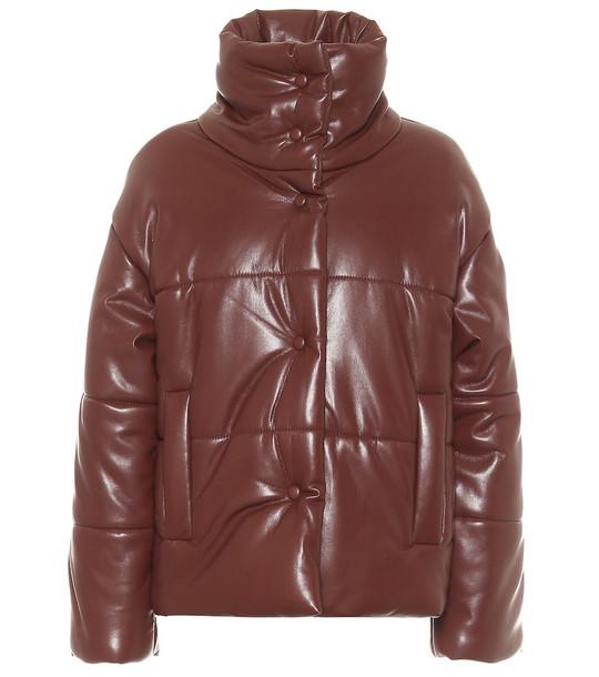 Nanushka Hide faux leather puffer jacket in brown
