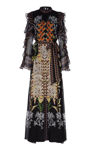 Temperley London Printed Harmony Chiffon Cold-Shoulder Maxi Dress Size in black