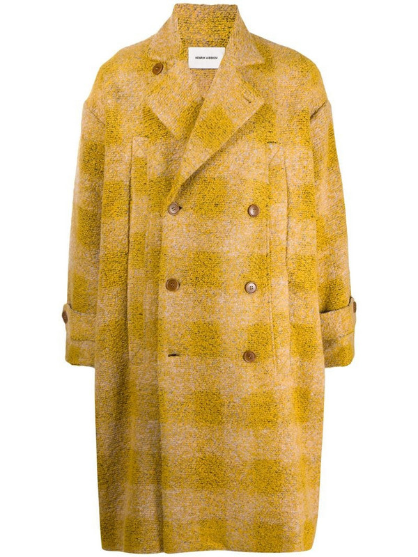 Henrik Vibskov check-pattern double-breasted coat in yellow