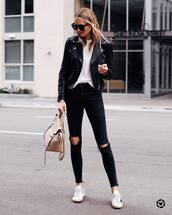 jeans,black jeans,black skinny jeans,white sneakers,shoulder bag,black leather jacket,white t-shirt,black sunglasses