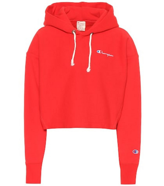 Champion Cropped cotton hoodie in red