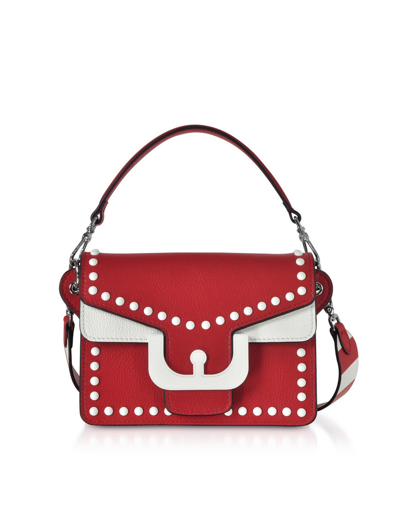 Coccinelle Ambrine Graphic Studs Color Block Leather Crossbody Bag in red