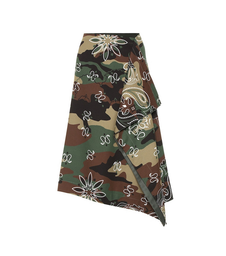 Monse Camouflage stretch-cotton midi skirt in brown
