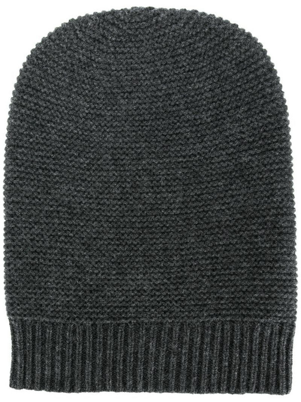 N.Peal knitted cashmere beanie in grey