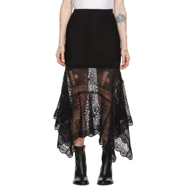 Alexander McQueen Black Patchwork Lace Knit Skirt