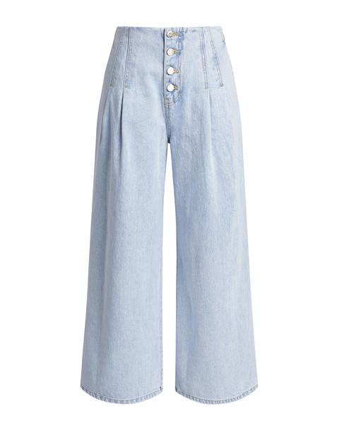 Sjyp Dart Detailed High-rise Wide-leg Jeans Light Blue