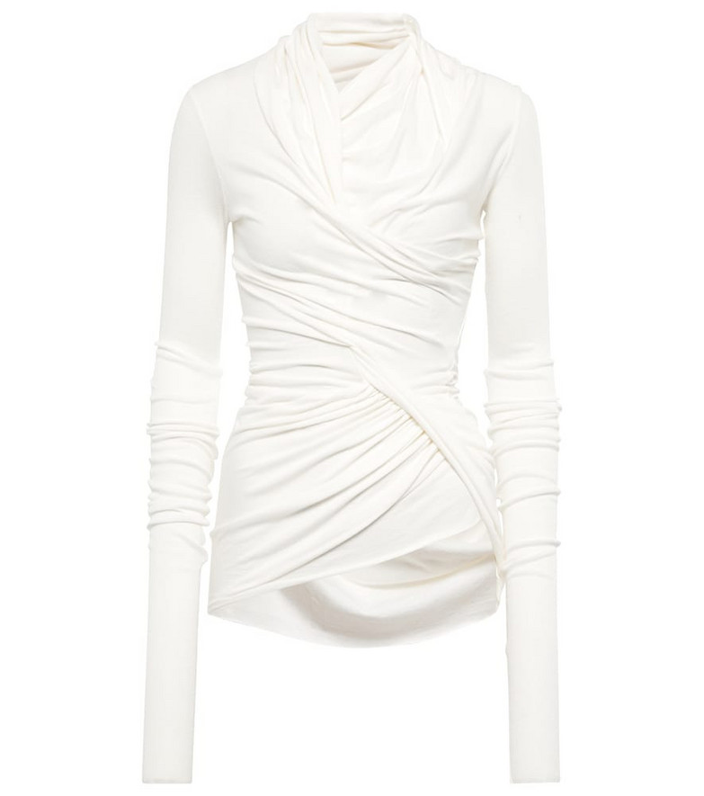 Rick Owens Ruched jersey top in white