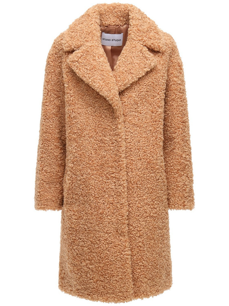 STAND STUDIO Camille Faux Fur Coat in camel