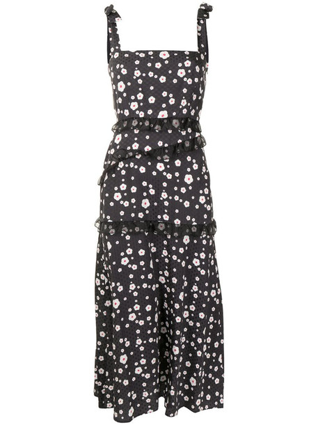Cynthia Rowley floral-print sleeveless midi dress in black