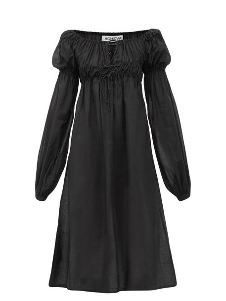 Àcheval Pampa Àcheval Pampa - Antonia Smocked Puff-sleeve Cotton-voile Dress - Womens - Black