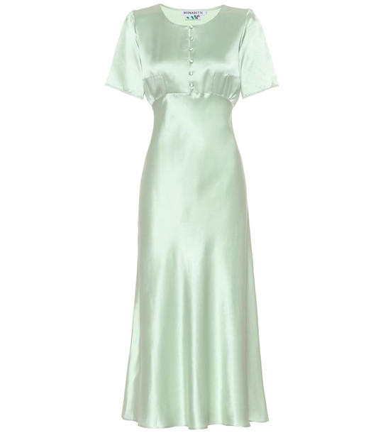 Bernadette Florence silk-satin dress in green