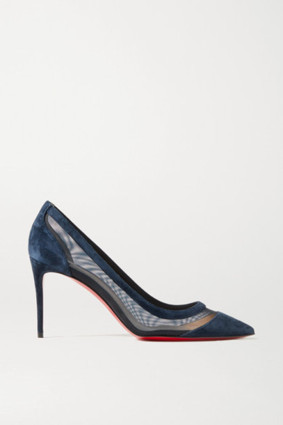 Christian Louboutin - Galativi 85 Suede And Mesh Pumps - Navy