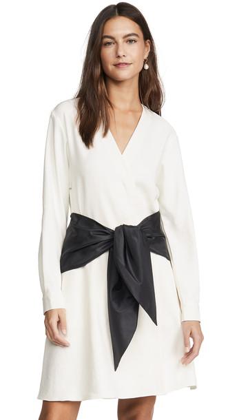 Tibi Tie Dress in black / white / multi