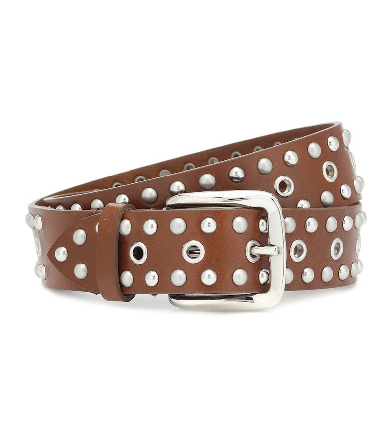 Isabel Marant Rica embellished leather belt in brown