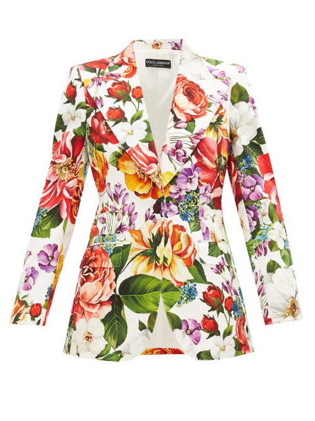 Dolce & Gabbana - Single-breasted Floral-print Cotton-blend Jacket - Womens - Multi