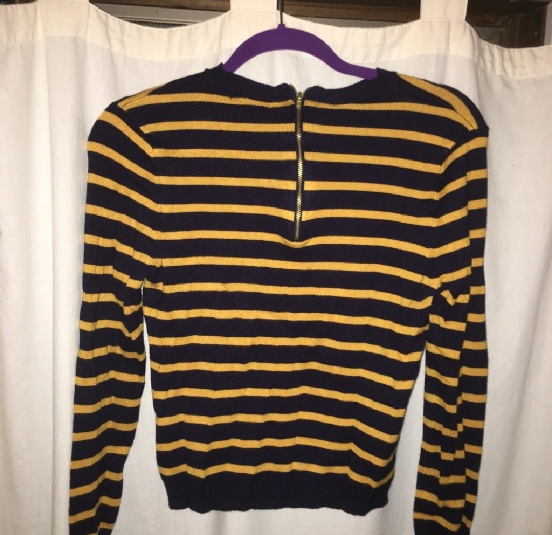 sweater blue navy forever 21 yellow mustard top stripes striped sweater
