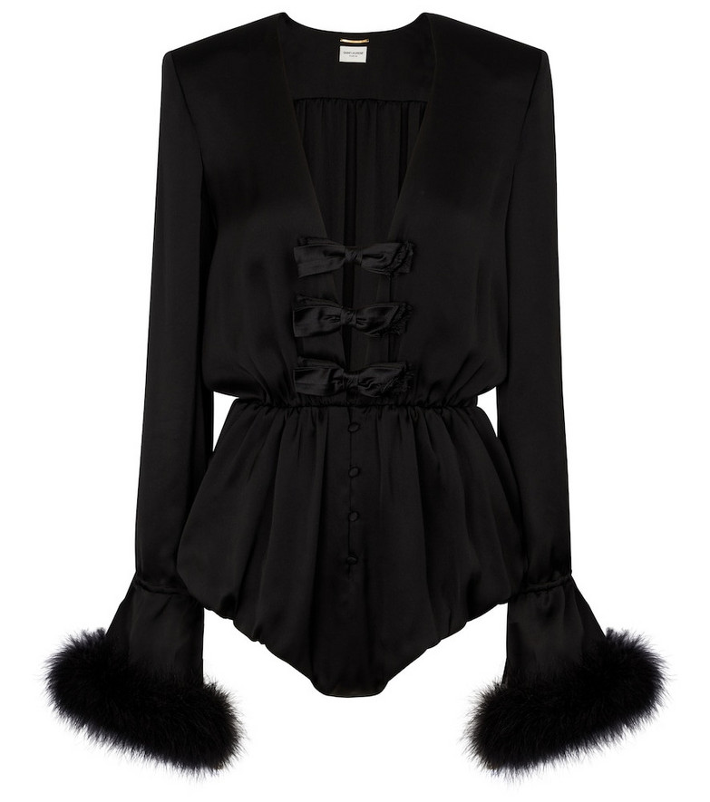 Saint Laurent Feather-trimmed silk satin playsuit in black