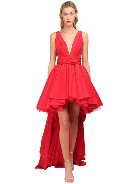 YOLANCRIS Asymmetric Taffeta Mini Dress in red