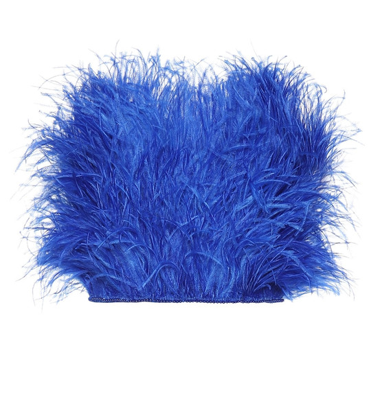 The Attico Embellished feather bustier in blue
