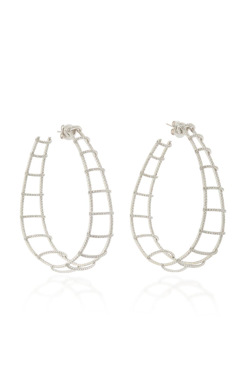 Ofira Diamond Ladder Hoop Earrings in gold